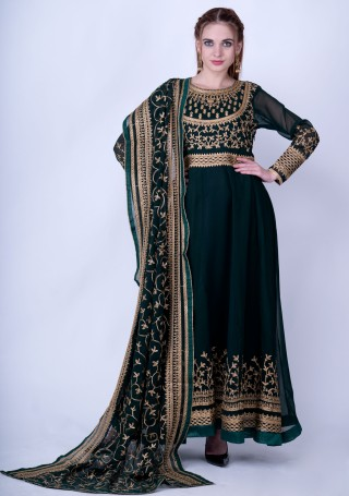 Dark Green Embroidered Anarkali Suit