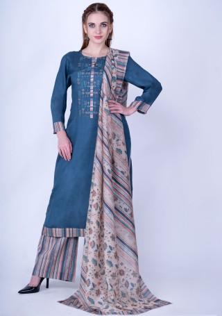 Multicolor Striped Viscose Slub Blue Kurta With Pant and Dupatta