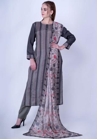 Multicolor Striped Viscose Slub Dark Grey Kurta with Pant and Dupatta