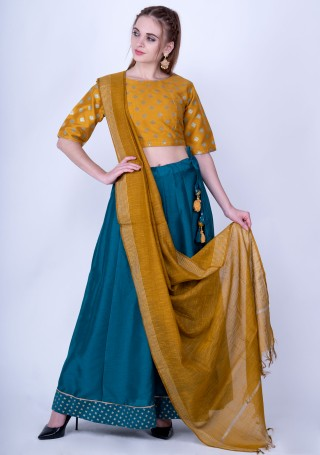 Mustard Poly Silk Top with Skirt and Dupatta