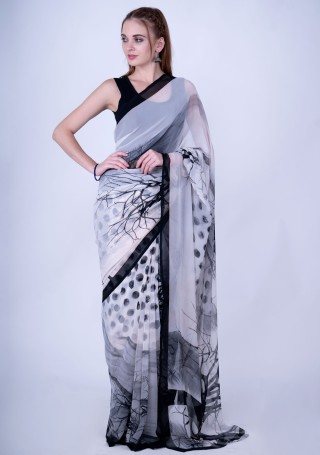 Black & White Fine Georgette Digital Abstract Printed Saree