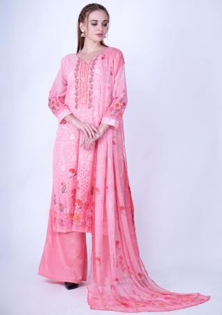 Digital Printed Light Pink Georgette Salwar Suit Set