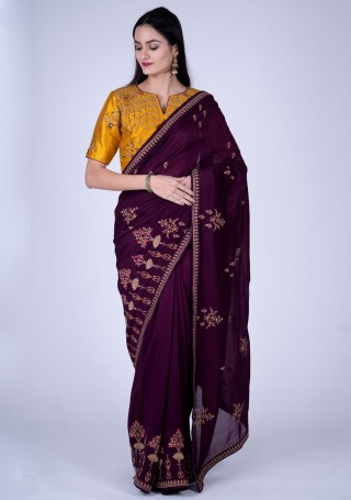 Dark Purple Self Textured Silk Saree with Embroidered Border