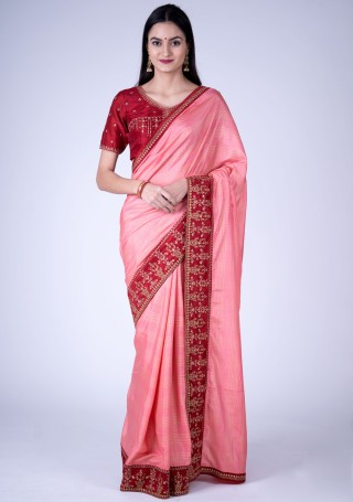 Salmon Pink Self Textured Silk Saree with Embroidered Border