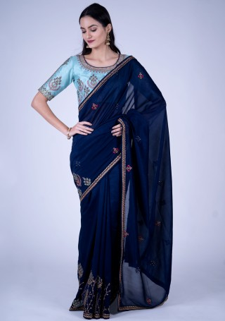 Midnight Blue Self Textured Georgette Saree with Embroidered Border