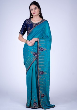 Blue Self Textured Silk Saree with Embroidered Border