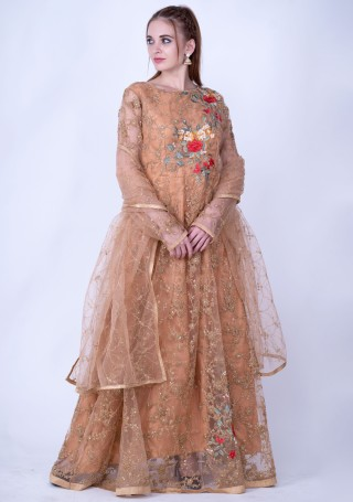 Light Brown Heavy Embroidered Glamorous Gown with Dupatta
