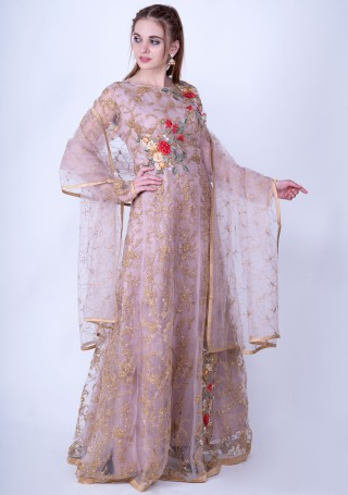 Dusty Pink Heavy Embroidered Glamorous Gown with Dupatta