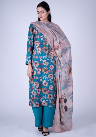 Blue Colour Digital Printed Pashmina Suit Set