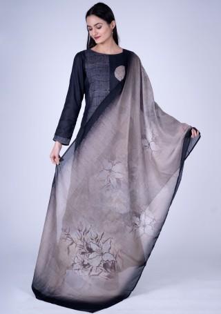 Black Digital Printed Pashmina Suit Set