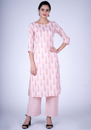 Light Pink Cotton Block Printed Straight Kurta with Pants