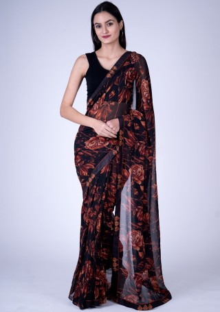 Black Floral Digital Printed Georgette Saree