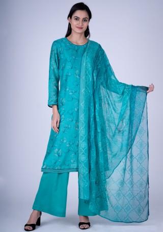 Digital Printed Light Blue Silk Salwar Suit Set