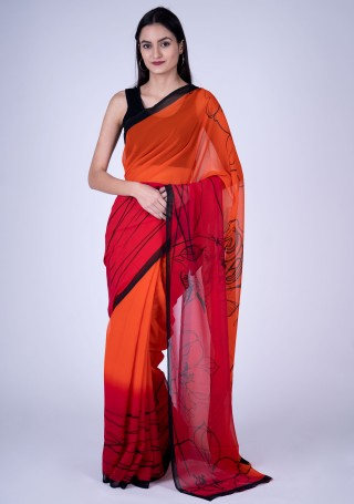 Orange & Pink Fine Georgette Digital Abstract Printed Saree