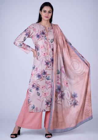 Cream Colored Digital Printed Pashmina Suit Set
