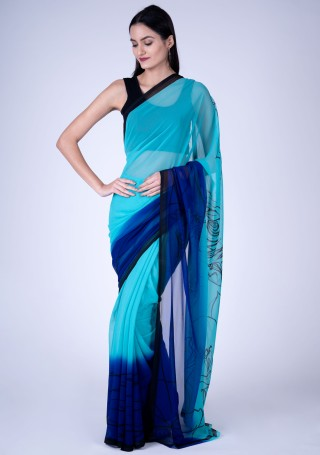 Blue Fine Georgette Digital Abstract Printed Saree