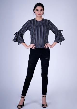 Stylish Striped Black Weaved Cotton Top