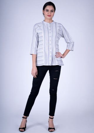 Classic Striped White Weaved Cotton Top