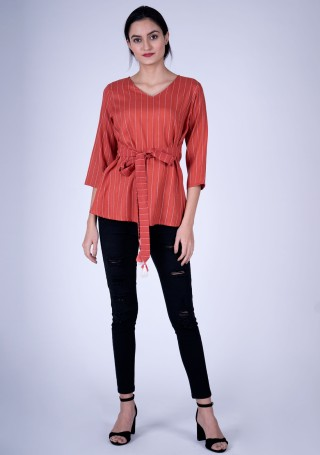 Stylish Red Orange Weaved Rayon Top