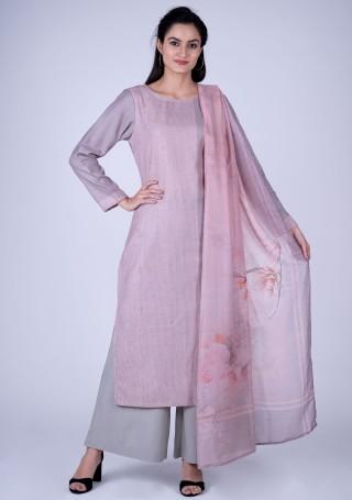 Mauve Printed Pashmina Suit Set