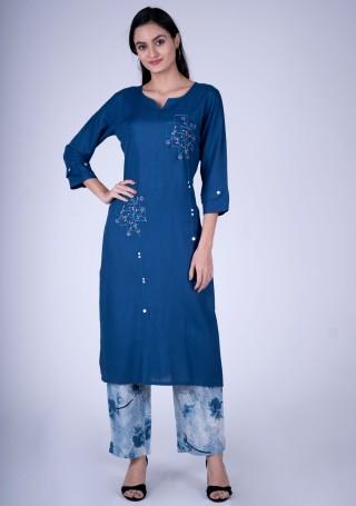 Royal blue Embroidered Contemporary Rayon Kurta and Pant Set
