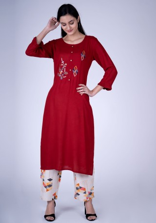 Red Embroidered Contemporary Rayon Kurta and Pant Set