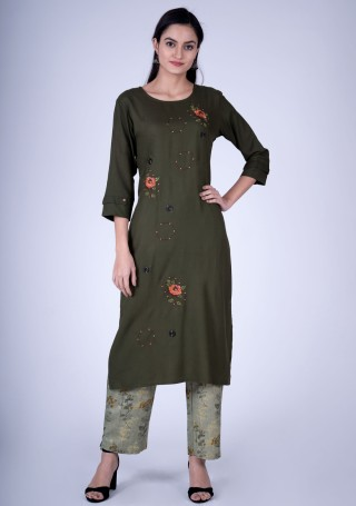 Dark Olive Green Embroidered Contemporary Rayon Kurta and Pant Set