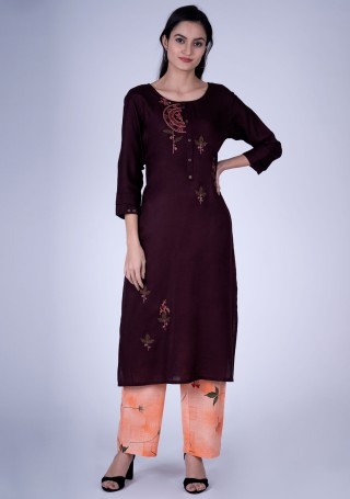 Wine Embroidered Contemporary Rayon Kurta and Pant Set