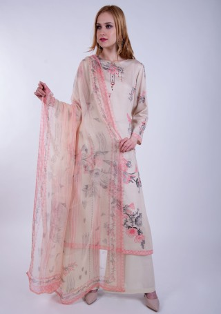 Pastel Beige Digital Printed Palazzo Suit Set