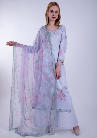 Lavender Digital Printed Palazzo Suit Set