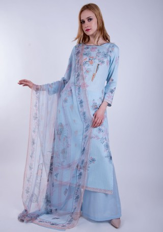 Light Blue Digital Printed Palazzo Suit Set