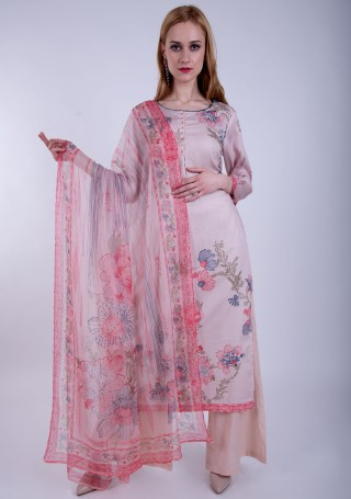 Pastel Pink Digital Printed Palazzo Suit Set