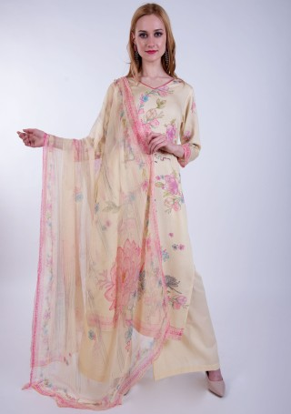 Light Peach Digital Printed Palazzo Suit Set