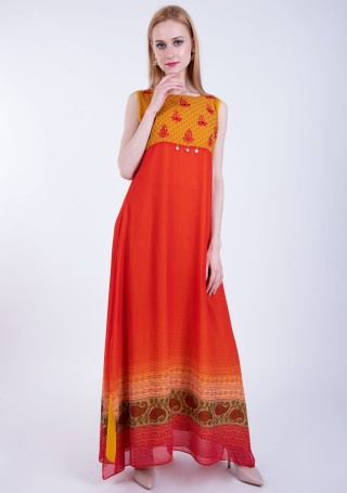 Orange-Yellow  A-line Georgette Traditional Printed Dress