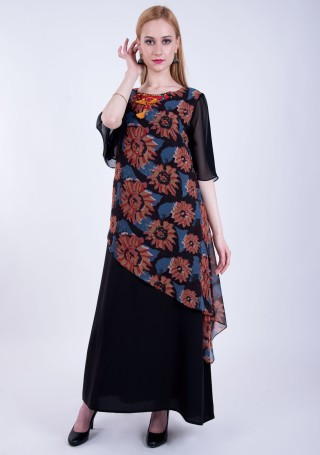 Multi-Colour Black Double Layered A-line Georgette Printed Dress