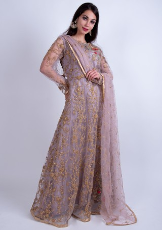 Mauve Heavy Embroidered Glamorous Gown with Dupatta