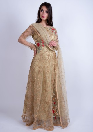 Pistachio Gold Heavy Embroidered Glamorous Gown with Dupatta