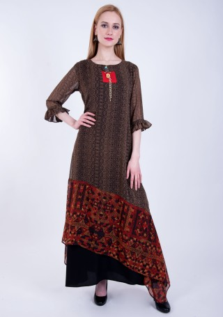 Brown and Maroon Double Layered A-line Georgette Printed Dress