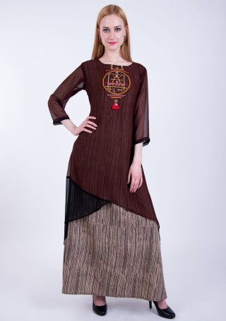 Wooden Brown Double Layered A-line Georgette Dress