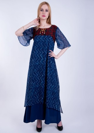 Royal Blue Double Layered A-line Georgette Printed Dress
