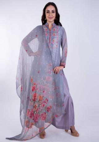 Digital Printed Mauve Georgette Salwar Suit Set