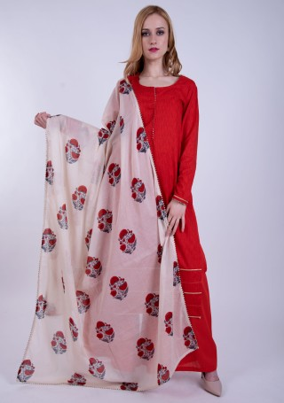 Scarlet Red Printed Cotton Kurta Palazzo Set with Floral Printed Contrast Dupatta