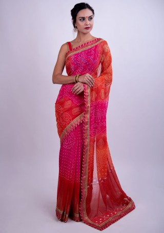 Hot Pink and Red Bandhej Foil Printed Georgette Saree