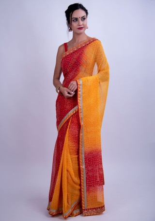 Yellow and Red Bandhej Foil Printed Georgette Saree