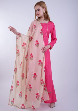 Pink Printed Cotton Kurta Palazzo Set with Floral Printed Contrast Dupatta