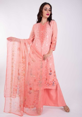 Digital Printed Coral Pink Georgette Salwar Suit Set