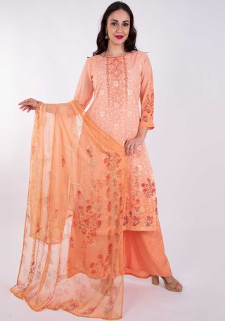 Digital Printed Coral Orange Georgette Salwar Suit Set