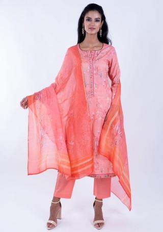 Gracefull Peach Lawn cotton Floral Printed Suit Set