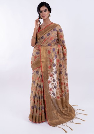 Banarasi Cotton Silk Beige Saree with Multicolor Resham Floral Zaal & Zari Border