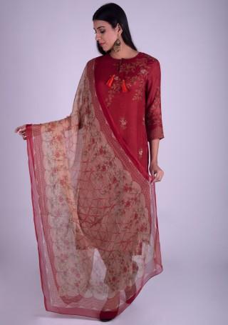 Dark Cherry Red Printed Pure Cotton Silk Kurta Set